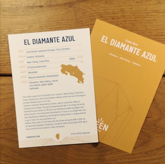 El Diamante Azul info card - Keen Coffee