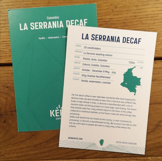 La Serrania Decaf info card - Keen Coffee